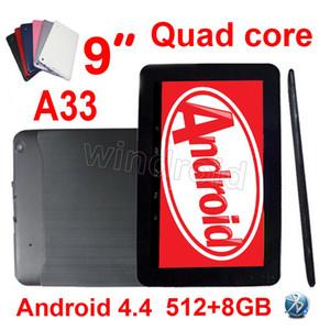 """9 9 """"Inç A33 Allwinner Tablet PC Quad Core Android 4.4 512 M 8 GB Çift Kamera Wifi Bluetooth 800 * 480 V90 DHL 10 adet renkli A31S A23 Google"""