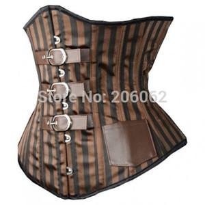 Cinturini all'ingrosso-vita-Cime sexy delle donne Corsetto Steampunk a righe Dirigibili a spirale cinchers Steelaist, taglia XXL MOQ 1pc