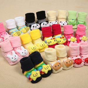 Bebé de la historieta 3D de los niños antideslizantes calcetines del animal del bebé recién nacido calcetines zapatos de los bebés al aire libre infantil de las muchachas que caminan antirresbaladizos del niño del calcetín frío de niños