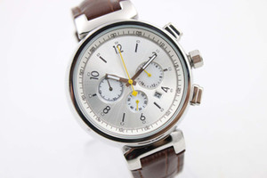 Limitada Branco Dial Brown Cinto De Couro De Quartzo Chronograph Tendência Função Completa Whatches Branco Inoxidável Ponteiro Relógios Mens Relógios De Pulso