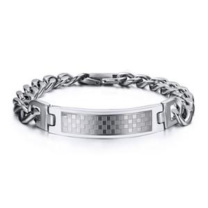 Neues Design XMAS 's bestes Geschenk für Männer Silber Edelstahl Curb Cuban Gliederkette Quadratgitter 12mm Breite ID / Identification Armband