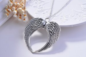 2015 Fashion Vintage Jewelry necklaces Guardian Angel Wings Wing Silver Tone Pendant Necklace Gift for Women, Teens and Girls
