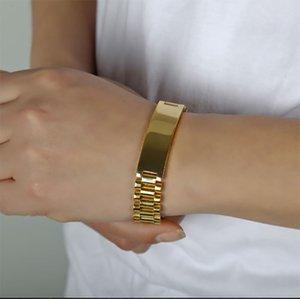 Serin Erkek 15mm 21 CM Watch Band Bilezik Altın Kaplama 316L Paslanmaz Çelik Kayış Katı Linkler Manşet Bilezik Takı Hediye