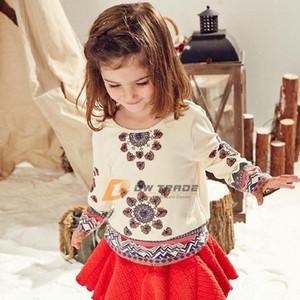 DHL 2015 nouvelles filles col rond broderie au crochet T shirt bébé enfants fille manches longues manchette en coton brodé chemises J011301 #