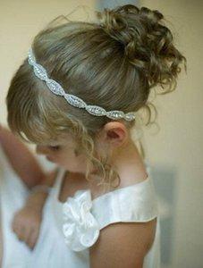 Las vendas flor de las muchachas de los niños de cristal de diamante dama de accesorios para el pelo hechos a mano de la princesa cristalina de las vendas de cristal de fiesta de la boda