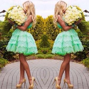 Encantador cariño menta verde corto vestido de bola de encaje Vestidos de baile Vestidos de Fiesta Vestidos de graduación 2015 EA0071
