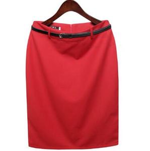 Cinturón mayor-libre Nueva moda Verano Otoño Señoras elegantes OL Faldas femeninas formales con cintura alta Traje de negocios Faldas lápiz
