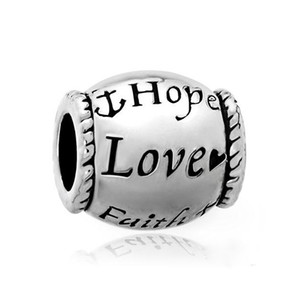 Fé do amor esperança Bead metal Slider Big Hole Europeia Spacer Encantos Fit Pandora Chamilia Biagi Charm Bracelet