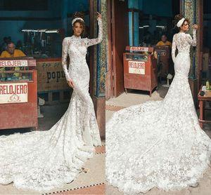 2018 Berta encaje vintage sirena vestidos de novia de manga larga cuello alto abiti da sposa por encargo vestidos de novia tren de la corte