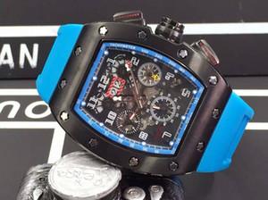 Luxo Grande Rosto Preto De Borracha PVD Mens Aço Inoxidável Movimento Mecânico Automático Relógios de Pulso RM011 Felipe Massa Flyback Esqueleto De Relógio Para Homem