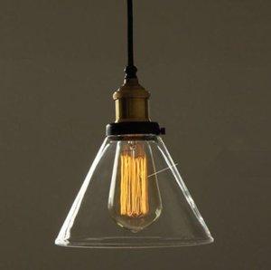 빈티지 산업 DIY 구리 천장 램프 라이트 깔때기 유리 펜던트 조명
