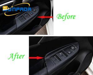 Sunfad karbon fiber iç kol dayama dekorasyon araba sticker modifikasyonu honda için fit otomobil parçaları / jazz 3rd gen 2014-2017 araba styling