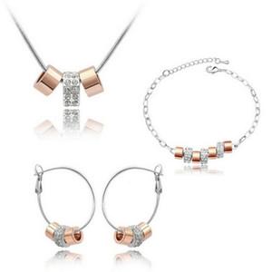 سلسلة من ذكريات سعيدة قلادة Earrrings أساور مجموعات 3 جولة قلادة مجموعات مجوهرات للنساء هدية عيد الميلاد 4068