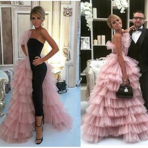 Lindo Rosa Tule Layered Babados A Linha Vestidos de Noite 2017 Até O Chão Formal Celebridade Convidado Do Partido Vestidos BA7249