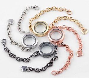 10 Unids / lote Mezcla de Colores Llano Redondo 25 MM Locket Flotante Charm Bracelet Magnetic Glass Locket Bangle