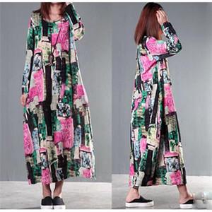 Yeni Günlük Elbiseler Moda Ulusal Rüzgar Büyük Çiçek Pamuk Uzun kollu Elbise