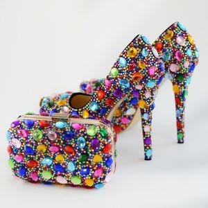 Renkli Rhinestone Düğün Gelin Ayakkabı ile Debriyaj Kadın Parti Balo Eşleşen Çanta ile Yüksek Topuk Ayakkabı Artı Boyutu 45