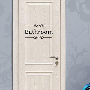 Toilette Salle De Bains Mur Art Mural Autocollant WC Porte Décoration papier peint Posters À La Mode Toilettes Porte Decal Décor Autocollant