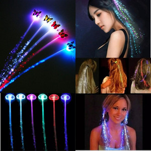 Luminoso Light Up Party Colorido Flash LED Hair Braid Horquilla Luminoso Trenza Fibra óptica Alambre Evento Suministros para fiestas