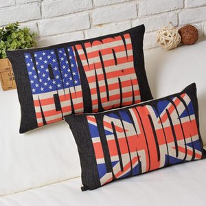 London funda de almohada, Stars and Stripes union jack bandera británica Nueva York funda de almohada de cintura funda de almohada al por mayor