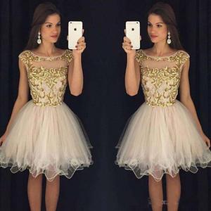2021 Vestidos de fiesta con las mangas casquillo de longitud de la rodilla Vestidos de Fiesta Sheer la cucharada Vestidos de baile con adorno de oro