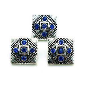 Fashion 18mm Snap Buttons High quality Blue Rhinestone Square Metal Clasps DIY Noosa Interchangeable Jewelry Accessories