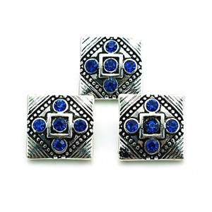 Мода 18 мм Оснастки кнопки высокое качество синий горный хрусталь площади металлические застежки DIY Noosa сменные ювелирные аксессуары