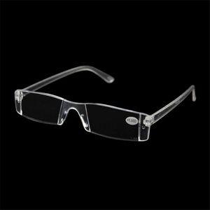 20 Teile / los Kunststoff Klar Randlose Brillen Presbyopie Weiß Lesebrille Unzerbrechlich Frauen Männer Transparent Lesebrille + 1,00 + 4,00