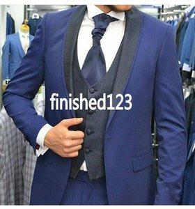 New Design One Button Blue Groom Tuxedos Groomsmen Shawl Lapel Best Man Suits Mens Wedding Blazer Suits (Jacket+Pants+Vest+Tie) NO:654