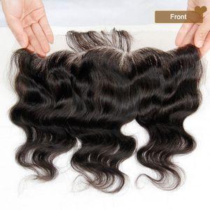 Malaysische Spitze Frontal Verschlüsse Körperwelle 13x4 Freies Mittel 3 Way Teil Volle Spitze Frontal 100% Unverarbeitete Malaysische Jungfrau Menschliches Haar verschluss