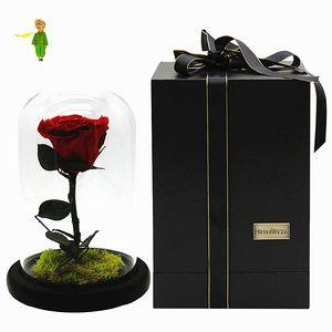 Küçük Prens Cam Kapak Taze Korunmuş Gül Çiçek Ölümsüz Renkli Güller Kız sevgililer Günü Düğün Hediyeleri için FL001