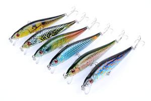 Señuelos coloridos de la pesca del Minnow del plástico del ABS del camuflaje 10cm 10g 6colors PS plateó el cebo realista del modelo de los pescados