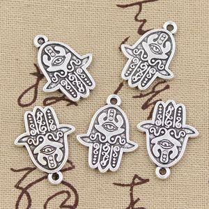 80pcs breloques main hamsa 24 * 19mm Antique, pendentif en alliage de zinc, argent tibétain vintage, bricolage pour collier
