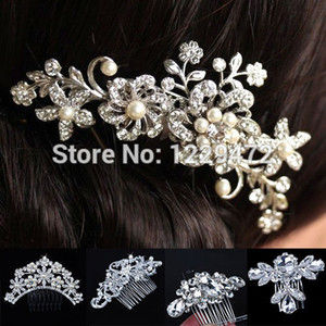 Gros-mariée mariage fleur cristal strass diamante perles femmes cheveux clip peigne cheveux accessoires