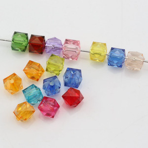 Hot ! 500 pcs Mix Color Acrylic Transparent Faceted Square Spacer beads 7MM DIY Jewelry