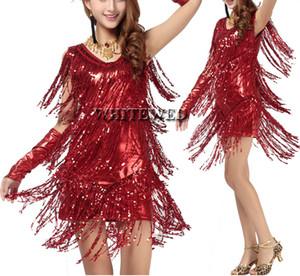Donne frangia nappa latino sala da ballo salsa cha cha Samba rumba jive dancewear concorrenza fancy dress costumi in vendita V Neck