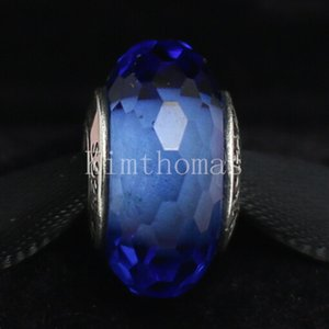 DIY Loose Beads Handmade Lampwork 925 Sterling Silver Blue Faceted Murano Glass Charm Bead Fits European Pandora Jewelry Bracelets