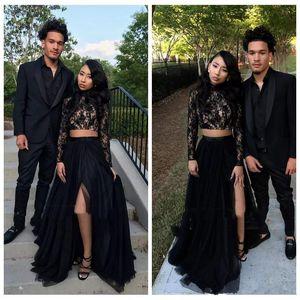 2 piezas de negro vestidos de fiesta de manga larga con cuello alto lateral dividida de encaje de tul hasta el suelo vestidos de fiesta de la moda tamaño personalizado