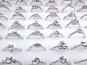2016 새로운 저렴한 핫 판매 도매 보석 제비 100PCS 지르콘 여성 실버 P 패션 반지 A-165 큐빅