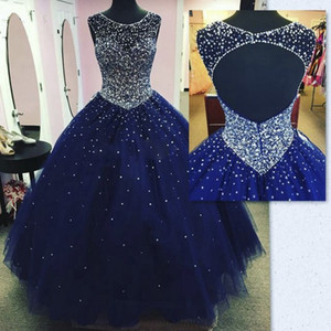 Modest Sparkly Dark Blue Prom Vestido Quinceanera Vestidos Masquerade 2019 Sheer Neck Open Back Bling Cristal Pageant Vestidos Para Doce 16