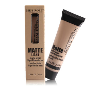MISS ROSE Matte Light Liquid Base Matte-wear Base de maquillaje nutritiva Cara profesional de 37 ml Maquillaje Producto