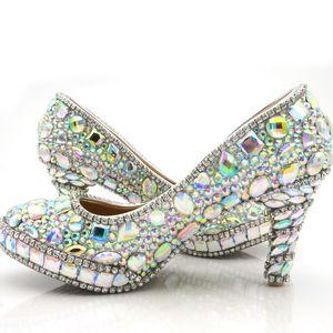 تألق AB اللون كريستال أحذية الزفاف 3 Inche أحذية عالية الكعب حفلة التخرج العودة للوطن حزب مضخات تو جولة منصة حجم 45