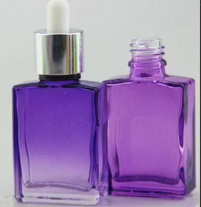 Bianco flacone / lucido 15ml 30ml flaconi contagocce in vetro eliquido per bottiglie di vetro quadrato e-juice rettangolo verde viola blu