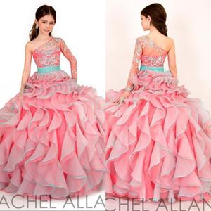 Bir omuz uzun kollu kristal kızın alayı elbiseler 2016 çocuklar çarpıcı büküm ruffles prenses balo etek çiçek kız elbise RA1572