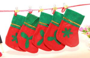 MOQ = 120PCS chaussettes de Noël en gros bas de Noël non tissés bouche verte applique stocking rouge et vert cadeaux chaussettes livraison gratuite