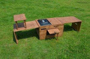 Camping Tisch Holz Gartenmöbel Set Picknick Tisch im Freien