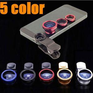 3 in 1 Clip-Objektiv 180 Grad-Fisch-Augen + Weitwinkel + Macro Fisheye-Objektiv-Kamera-Objektive für iPhone Samsung HTC Nokia