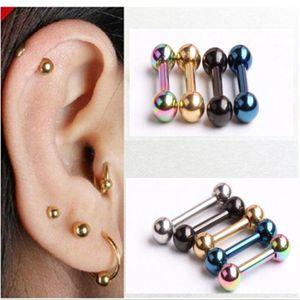 Pendiente de labio de oreja falsa de acero inoxidable Mujer de moda Hombre Tragus Helix Pendiente Piercing Joyería Mix 5 Color 50pcs / lot
