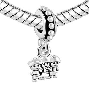 Fmaily charms Material de aleación con recubrimiento de rodio Dangle MEJORES HERMANAS Charm fit Pandora Chamilia Biagi