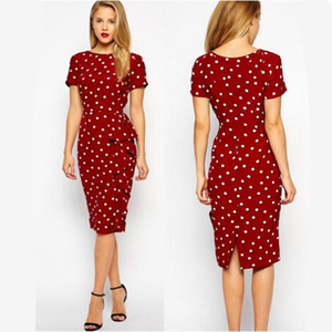 Hot 2016 new retro dress Polka Dot Slim large size of professional temperament Tunic dress Office Work Business clothes Red black Plus size